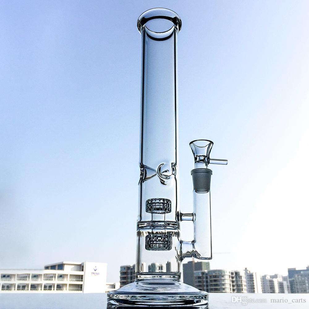 Tube droit Verre Bongs Avec Ice Pincez Bong Stereo Matrice Perc Oil Rig Dab frittés en verre disque Les conduites d'eau 18mm Joint avec bol