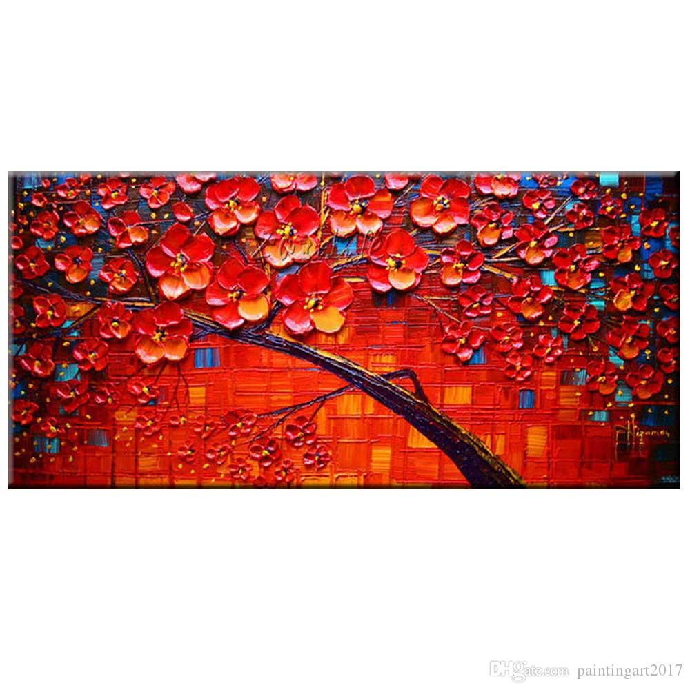 Handmade Abstract Red Flower Tree Oil Painting Decorative Canvas Art Living Room Bedroom Home Wall Decor