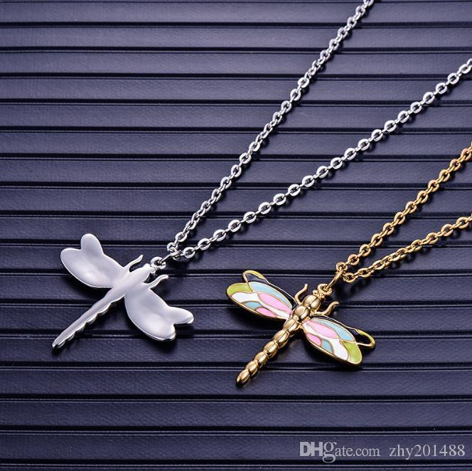 Stainless steel Dragonfly Pendant Necklace Korean Simple Baitao Titanium Steel Jewelry