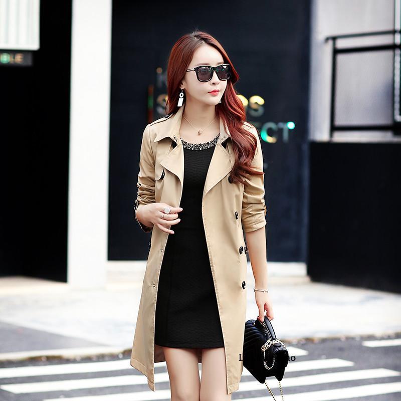 2020 otoño del resorte más el tamaño de la capa para la capa de las mujeres de Corea de la solapa doble de pecho Slim Fit Negro rompevientos Mujer XXL Z409 Trench