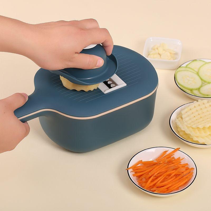 Vegetable Cutter 4 Dicing Blades Vegetable Slicer Hand Protection Potato Carrot Grater with Strainer Mandoline Slicer