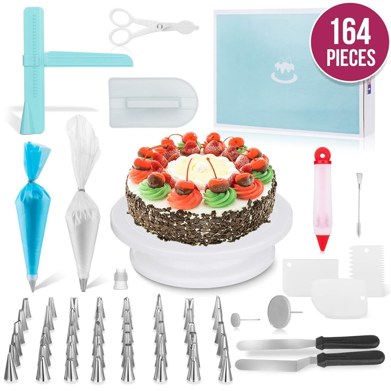 164PCS / Set multifunción de la torta de la placa giratoria Conjunto de azúcar que adorna el kit de herramientas de pastelería Fondant Boquilla Suministros herramienta de la cocina Postre de la hornada