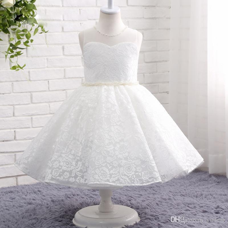 2019 Fildişi Jewel Sheer Boyun Çiçek Kız Elbise Düğün İçin Kolsuz Dantel İnciler Doğum Günü Partisi Kız Communion Pageant Törenlerinde