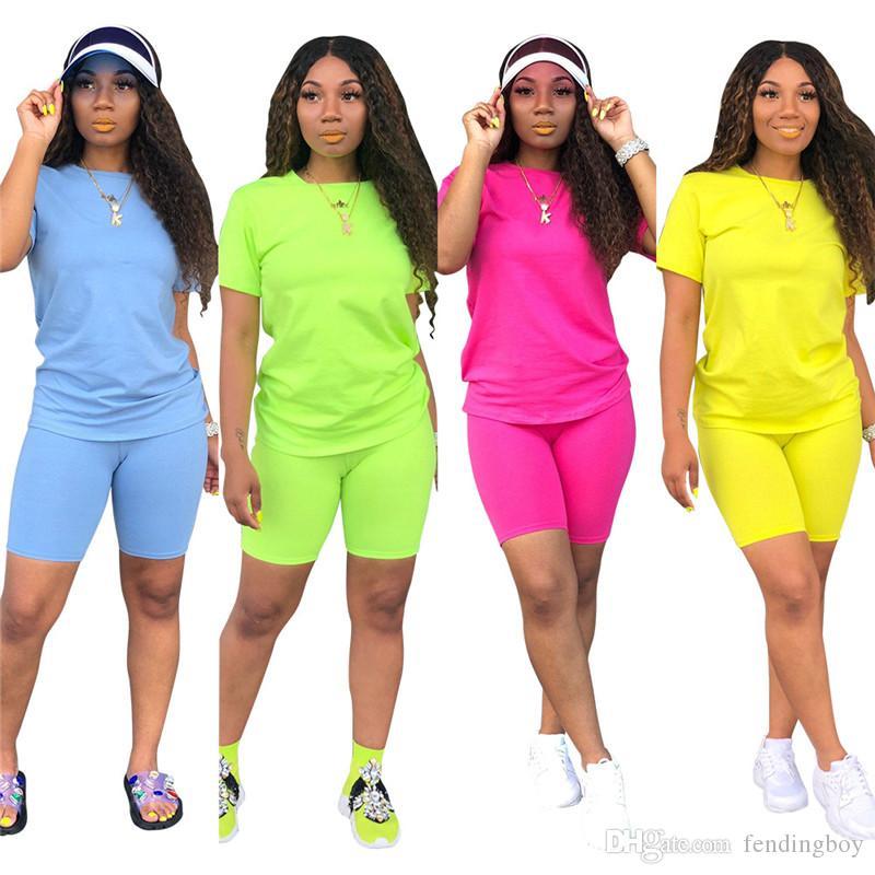 Sommer Frauen Einfarbig Trainingsanzug Designer Kurzarm Rundhalsausschnitt Trainingsanzug Mode Lässig Streetwear Sport Anzug
