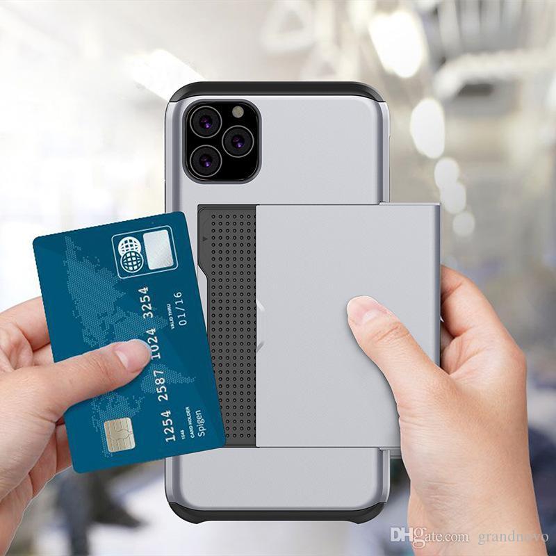 Slip Card Slot Wallet Hard TPU Case Hybrid Armor Double couche de protection pour iPhone 11 Pro Max XS XR X 8 7 6 6S Plus antichoc