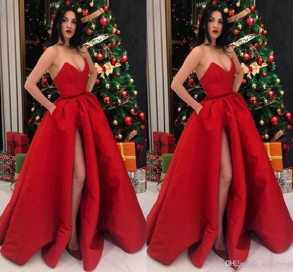2019 Vermelho Vestidos de Baile com Bolsos Dividir Vestido Ocasião Especial Vestidos De Soiree Evening Partido Vestidos