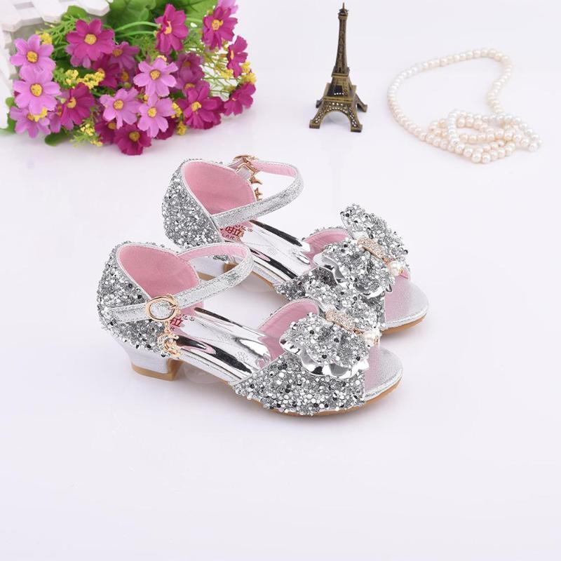 Le ragazze Pearl Butterfly-Nodo di Bling Bling singolo principessa sandali estate dei sandali di modo Mid-tacco Dancing Shoes principessa studenti
