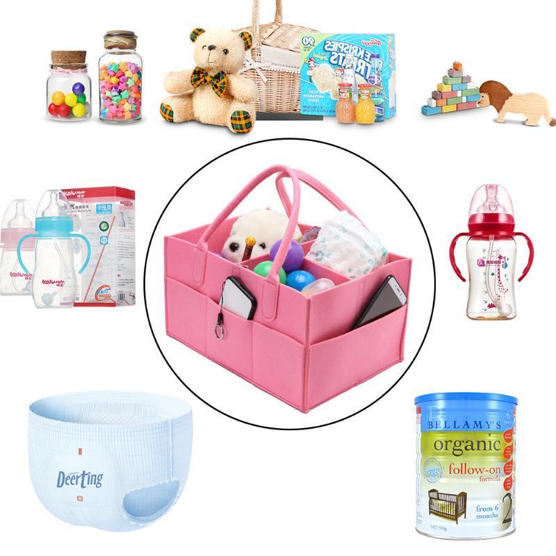 Baby Diaper Wipes Bag Caddy Nursery Storage Bin Infant Nappy Organizer Basket UK