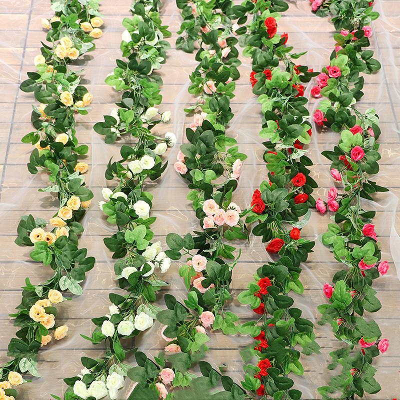Artificial Silk Rose Flower Wisteria Vine Rattan Hanging Flower Garland for Wedding Party Home Garden Decoration