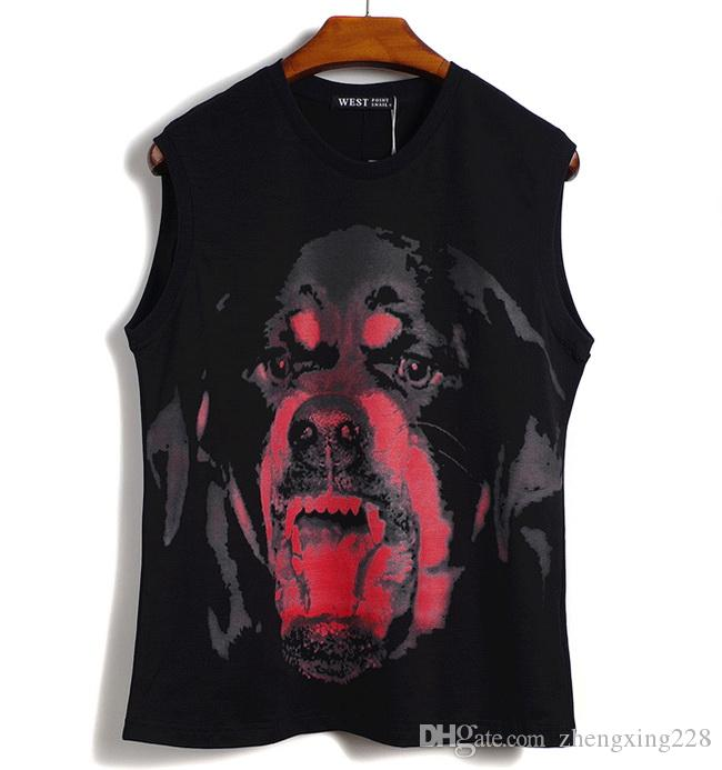 Donne di lusso uomo rosso T-shirt da cane rosso stampato gilet hip hop fitness uomo gilet nero 2020 estate cotone designer testa sportiva testa mexsi