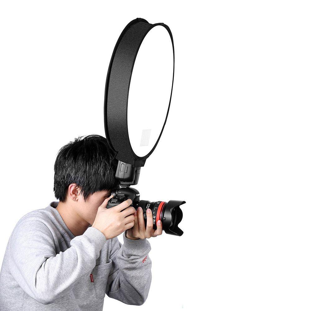 30 cm / 40 cm Yuvarlak Evrensel Taşınabilir Speedlight Softbox Flaş Difüzör Kamera için Üst Yumuşak Kutu, Flash Difüzör