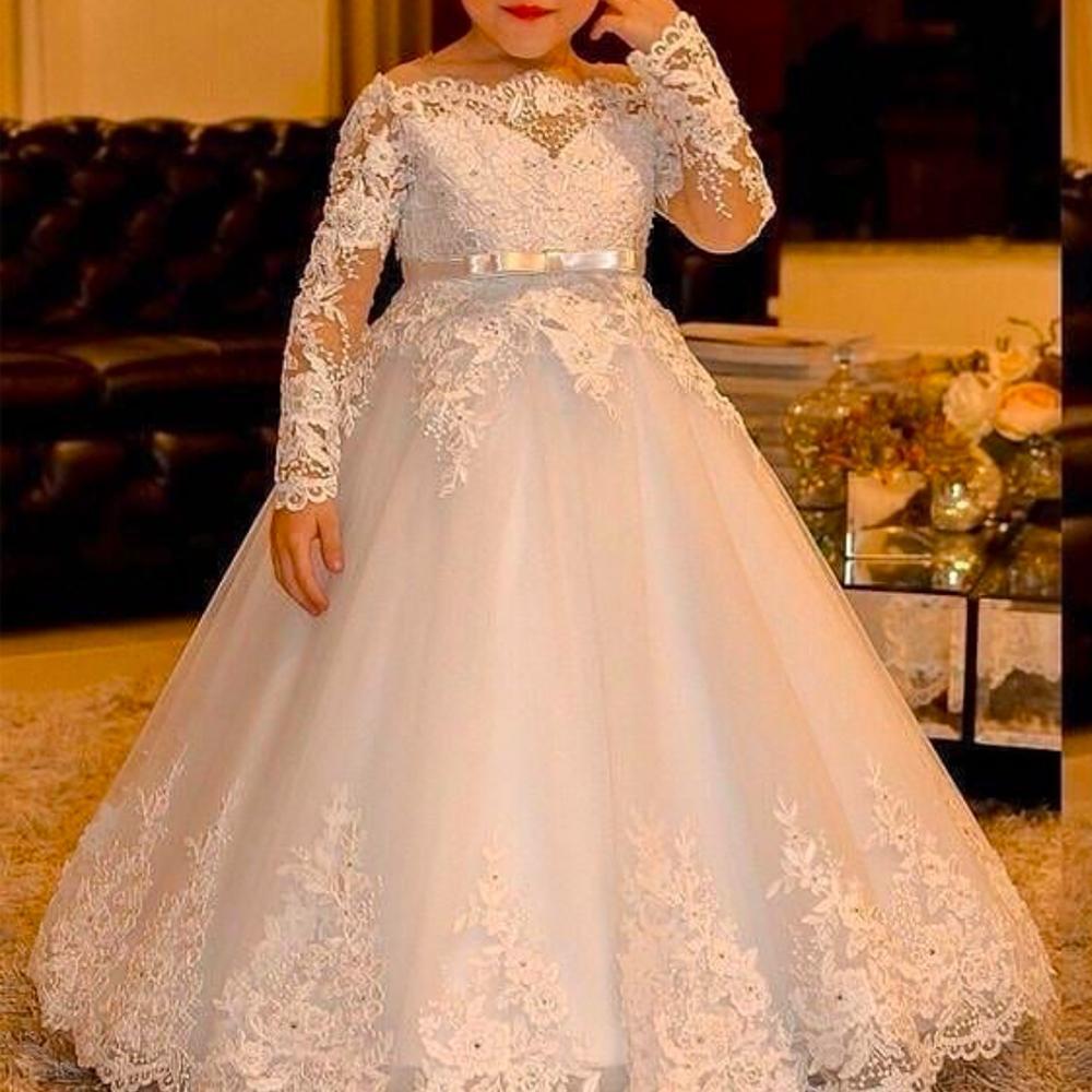 Vintage Lace Long Sleeves Flower Girls Dresses For Wedding Ball Gown Bateau Neckline Tutu Skirt Kids Formal Wear Cheap Birthday Gown