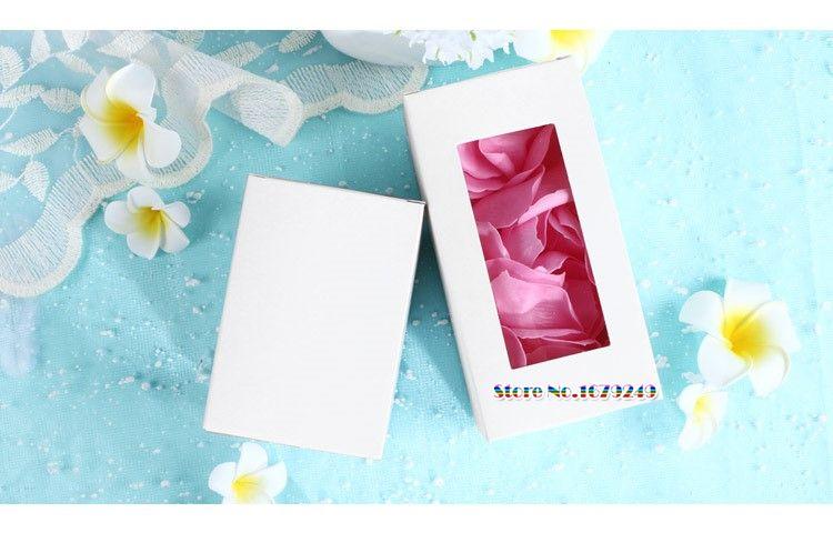 7 * 7 * 10cm 7 * 7 temizle penceresinde, Esansiyel yağ parfüm ile * 14cm Beyaz kağıt Box torbalar Kutu, Hediye Boxes100pcs Packaging / lot