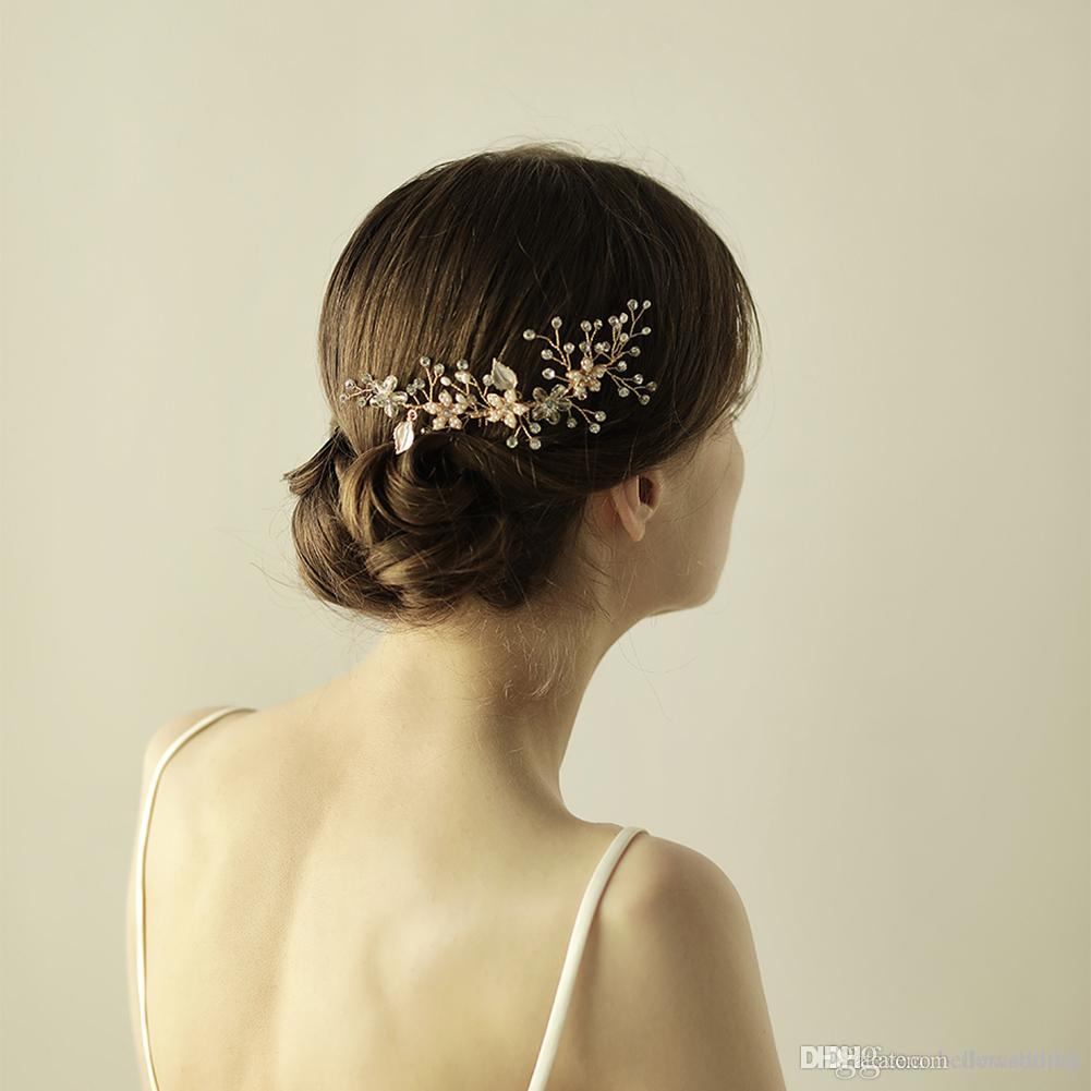 2018 New Wedding Hair Accessories Bridal Hair Comb With Pearls Crystals Women Hair Jewelry Party Headpieces #BW-HP835