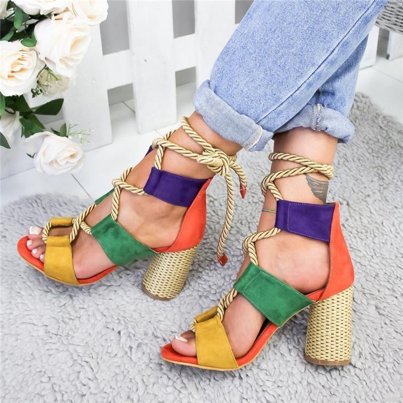Loozykit Fashion Summer Espadrilles Women Sandals Heel Pointed Fish Mouth Gladiator Sandal Hemp Rope Lace Up Platform Shoe Y19070203 lll