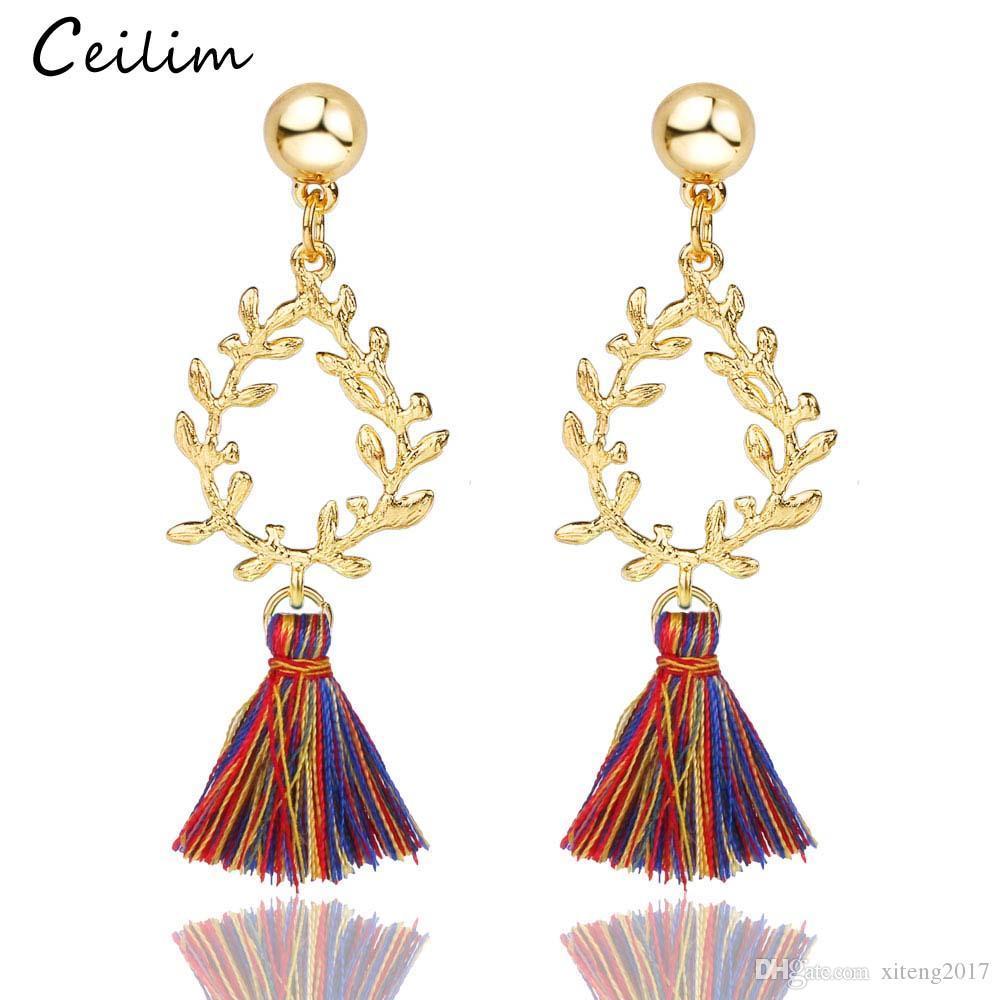 Bohemia Long Tassels Dangle Earrings Teardrop Girls Thread Leaf Crystal Drop Multicolor