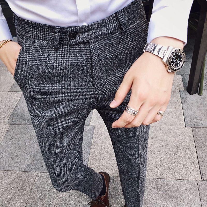 الرجال السراويل الرجال السراويل يتأهل رسمي نمط اللباس النمط البريطاني رجل 2021 البدلة hombre قلم رصاص