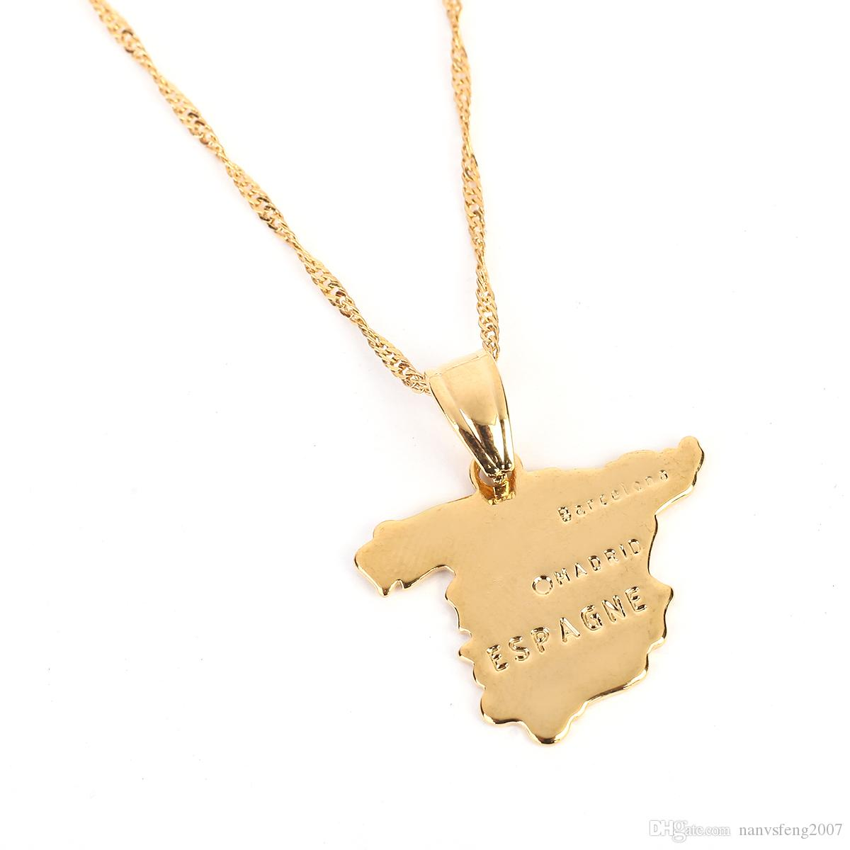 Spain Map Pendant Necklace Chain For Women 24K Gold Color Jewelry Love ESPAGNE Country Spanish Lettering Map