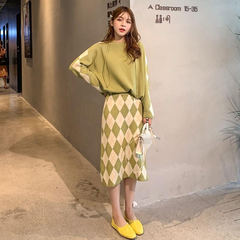 2019 Casual Knitted Skirts And O-Neck Tops Two Piece Sets Loose Hooded Sweater And Plaid Midi Skirt Women's Suits
