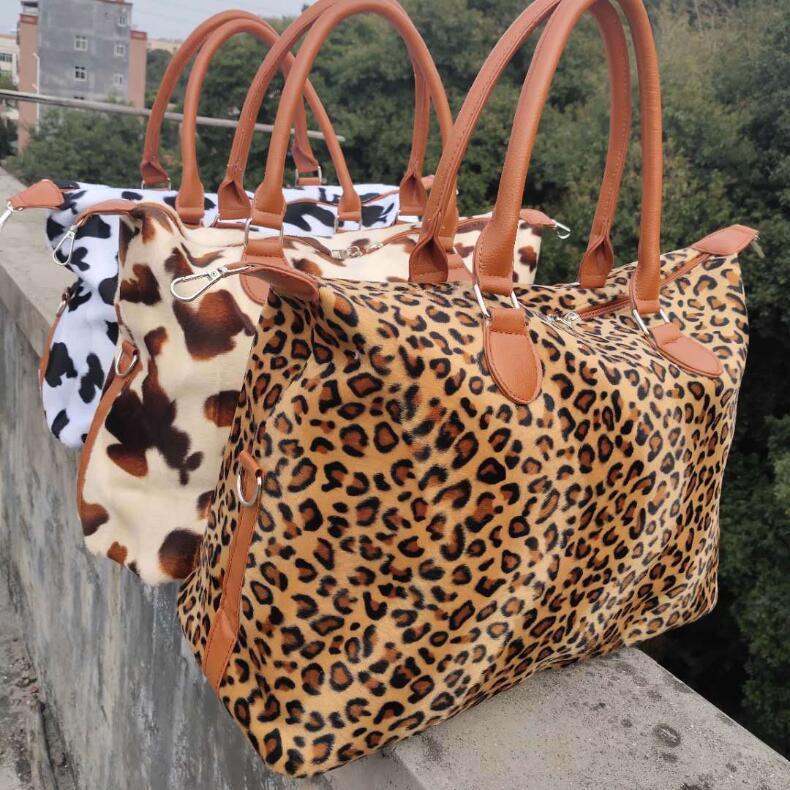 3 estilos Weekend Bolsas Cow Leopard Impresso Bolsa Duffel Bag Leopard Travel Bag menina Bolsas grande capacidade com CCA12132 transporte marítimo