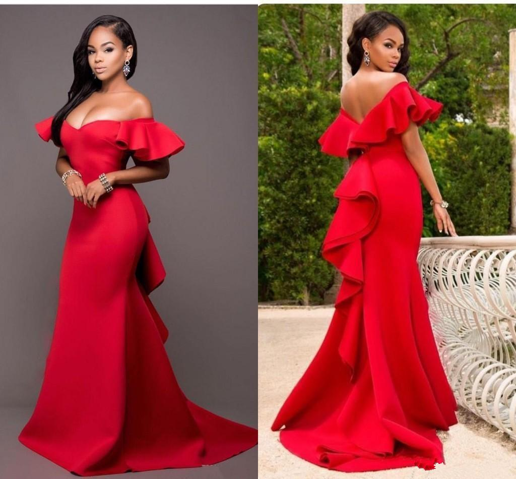 Gorgeous Red Mermaid Bridesmaids Dresses Off the Shoulder Backless Maid of Honor Floor Length Satin Wedding Party Dress Plus Size Z74
