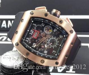 Luxo Top Marca Rose Gold Inox Tonneau Data de Moda Mens Esqueleto Mecânico Relógio de Borracha Data Homens Movimento Automático relógio de Pulso