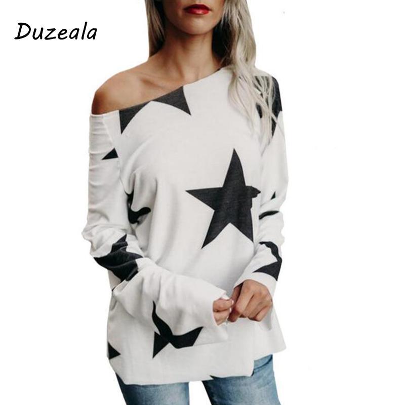 2018 زائد الحجم s-3xl الشتاء الأساسية قمم الأزياء blusas طويلة الأكمام عارضة القمصان س الرقبة kawaii طباعة نجوم المرأة بلوزة الخريف T5190605