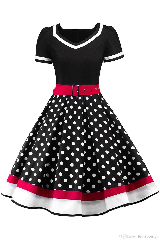 Großhandel 12 Tupfen Vintage Frauen Rockabilly Kleider Mit Gürtel 12  Frühling Retro Sommer Frauen Arbeiten Kleid Lässige Party Kleider Kurze  Ärmel