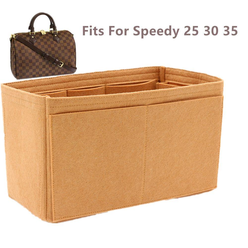 SPEEDY 35 Felt pano Inserir Bag Organizador cáqui Makeup Bolsa shaper Organizador Viagem Interior Bolsa portáteis sacos cosméticos