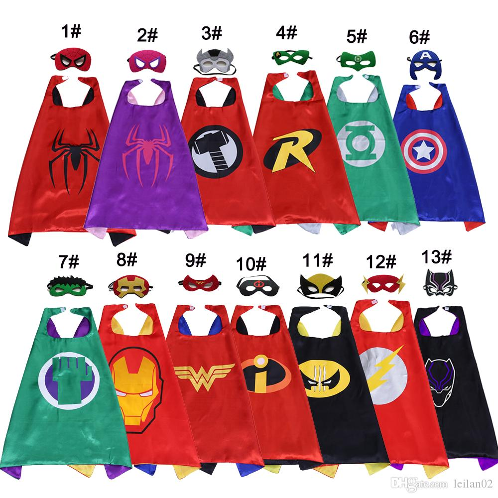 2-layer superhero costumes cape mask set for kids Spiderman Hulk Flash top Quality Halloween cosplay child party favors