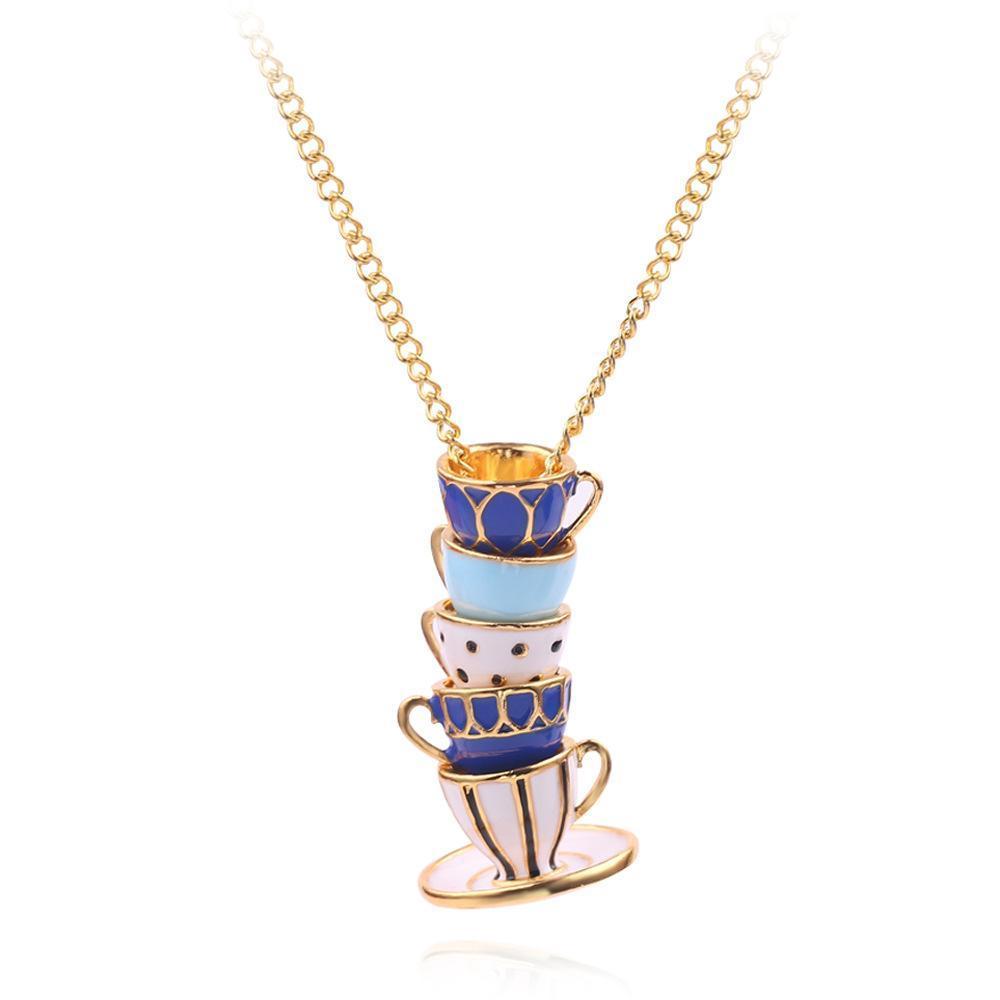 Coppa misura maglione mano della catena di modo Gioielli Abbigliamento Accessori Collana lunga collana dello smalto Ciondolo Donna