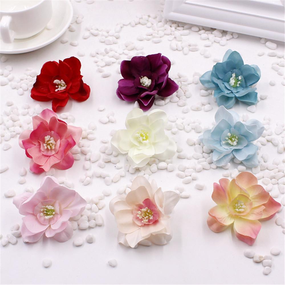 10pcs / lot Seta Handmake Bouquet di fiori artificiali Decorazione di nozze Fai da te Ghirlanda regalo Scrapbooking Mestiere Fiore finto