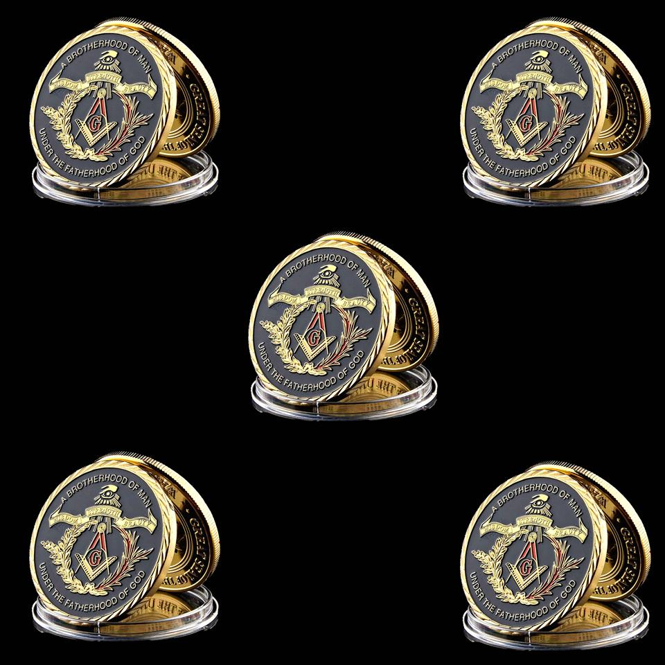 5pcs Souvenir Coin European Brotherhood Masonic Freemasonry 1oz Gold Plated Collectible Coin Token Physical Box