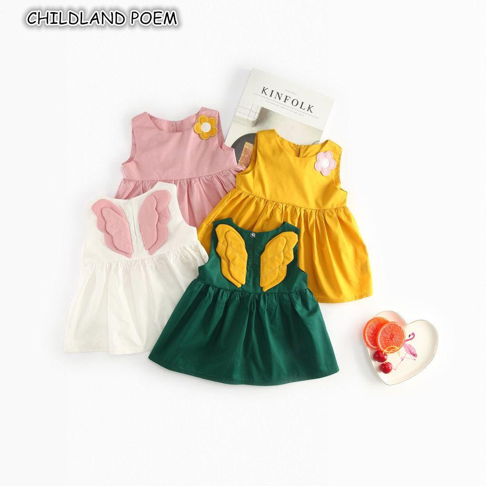 Bebê vestido de verão bebê meninas vestido de roupas anjo asa princesa primeiro primeiro vestido de festa de aniversário da criança recém-nascida meninas vestidos 1-4y j190506