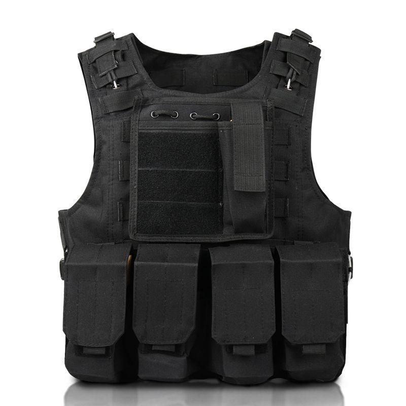 Negro al aire libre para adultos multifunción chaleco táctico de Molle Armor Caza Jungle equipo al aire libre