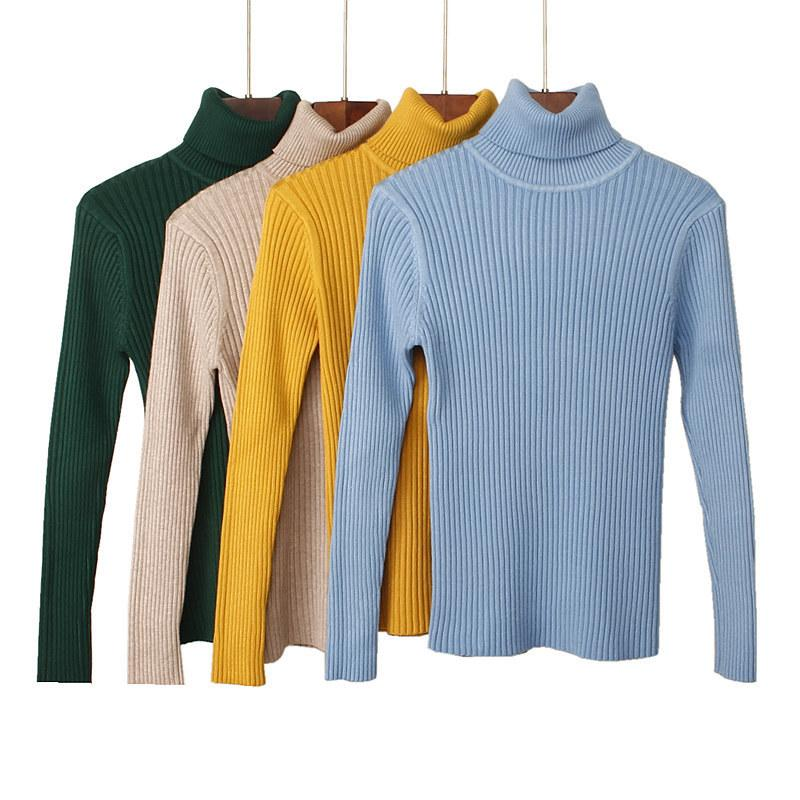 2019 Turtleneck Warm Winter Women Sweater Long Sleeves Thick Knitted Ladys Pullovers Top Soft Elasticity Female Sweater
