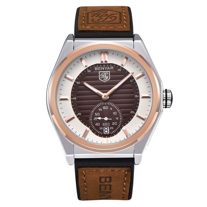 Relógios Men pulseira de couro impermeável dropshipping Quartz Black Watch Saat