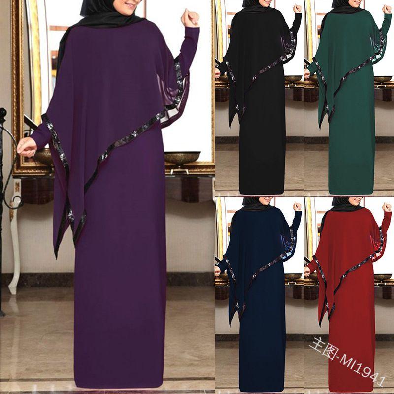 Muçulmano Chiffon Abaya Kimono Hijab Vestido Cape árabe Dubai Mulheres Africano Paquistão Caftan Marocain Kaftan Qatar roupa islâmica