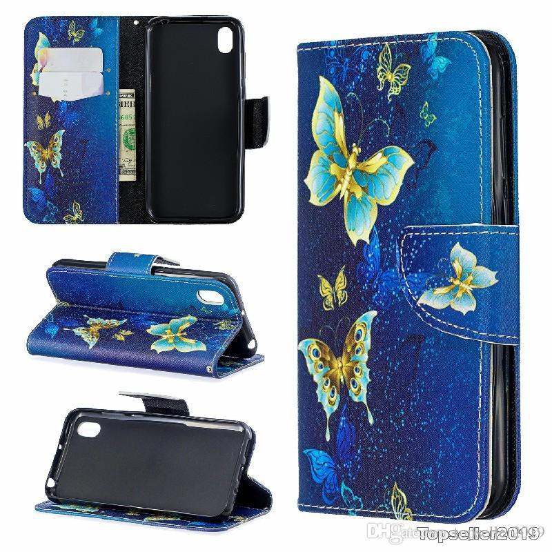 Pour Huawei Y5 2019 Honor 8S Stand Design Portefeuille Coloré Étui En Cuir Téléphone Sac Couverture Avec Étui pour téléphone et titulaire de la carte B091