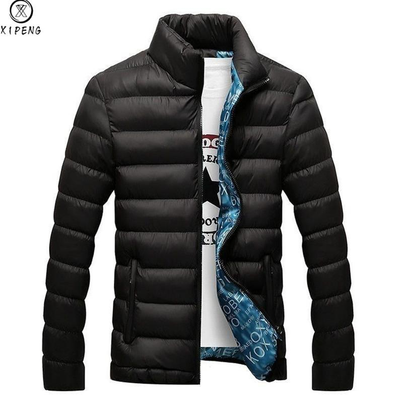 Brand Men Parka Cotton Padded Winter Jacket Coat mens warm jacket Solid color Stand Collar Zipper Thick Coat Men Down Parka MX191121