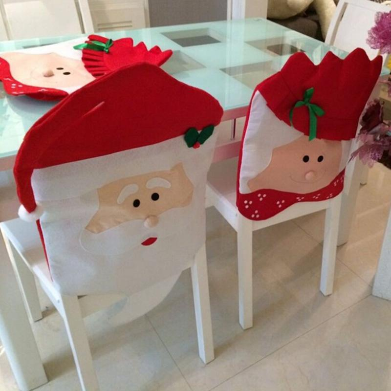 Weihnachtsdekoration Chair Back Cover Set Dekor des neuen Jahres Dekorationen Mode Xmas Weihnachts Red Hat Dinner Table Party Supplies