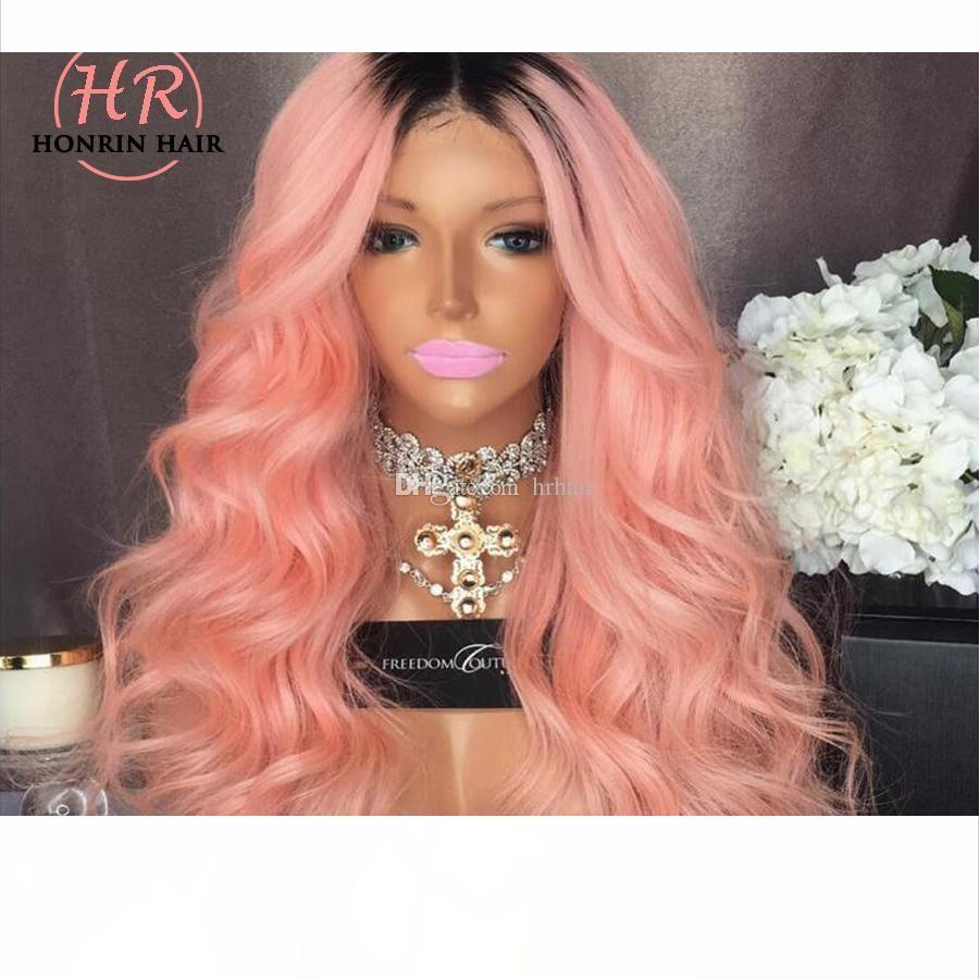 Ombre T1b rosa del cordón de la peluca del frente del cordón de la peluca natural de la onda completa ondulada brasileño de la Virgen del pelo humano del 150% Densidad pre desplumados rayita