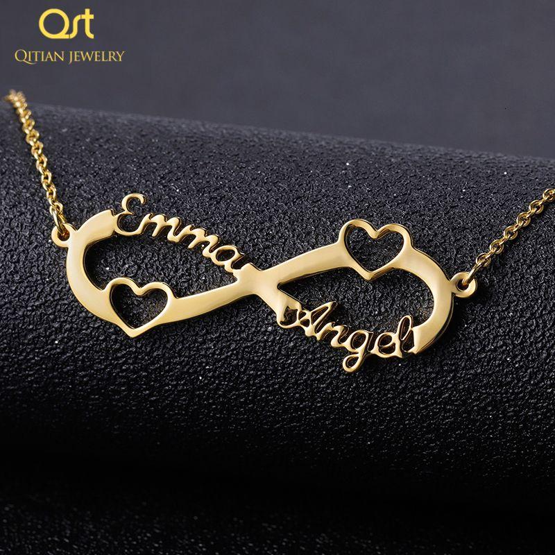 Из нержавеющей стали на заказ Имя ожерелье Персонализированные розовое золото серебро Бесконечность ожерелье Friendship подвеска драгоценности Лучший друг подарков V191212