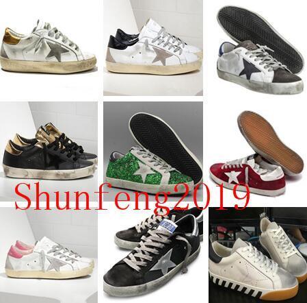 Mode Italie Goleden Old Style DB Chaussures de sport en cuir véritable villosités Derme Chaussures Casual Hommes / Femmes Luxe Superstar formateur Taille EUR35-45