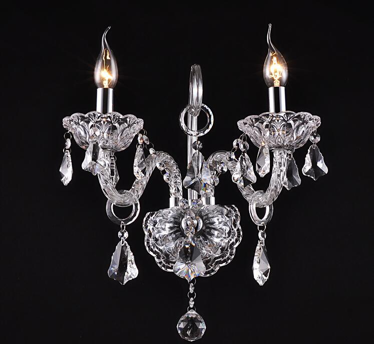 top K9 crystals transparent clear /cognic Crystal Wall Lamp Candle Led E14 Bulbs double/three head beside bed room light