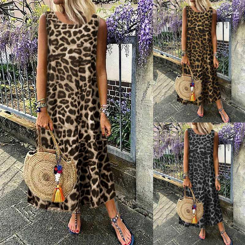 Vestido plissado Famale Casual Designer Vestuário Womens Verão Leopard vestido sem mangas em torno do pescoço Moda solto