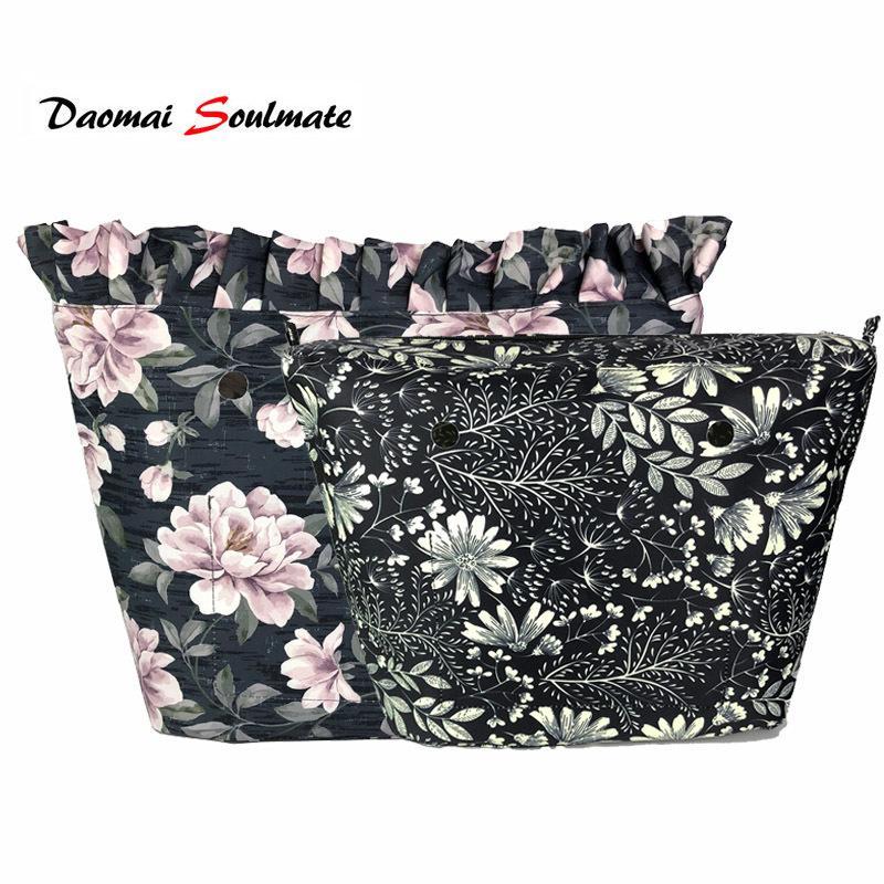 Floral de la frontera impermeable interior de la guarnición de inserción para Obag bolsa O Mini clásico inserta interior para el bolso de silicio o bolsa de accesorios