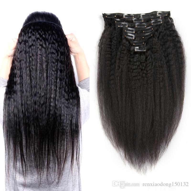 인간의 머리카락 확장에 브라질 킨 키 스트레이트 클립 버진 헤어 120g 거친 야키 클립 기계 레미 인간의 머리카락을 연장했다