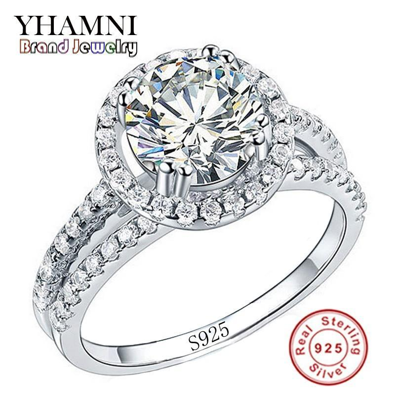 YHAMNI Fashion Jewelry Ring Have S925 Stamp Real 925 Sterling Silver Ring Set 2 Carat CZ Diamond Wedding Rings for Women 510