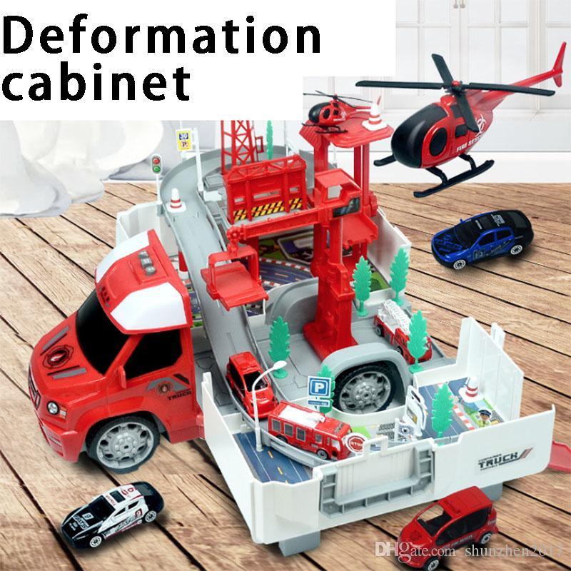 변형 화재 경찰 경주 컨테이너 트럭 주차 합금 트랙 자동차 전기 소년 어린이의 교육 장난감